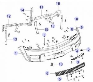 Решетка переднего бампера Great Wall Hover (Грейт Вол Ховер) 2803306-K00 2803306-K00